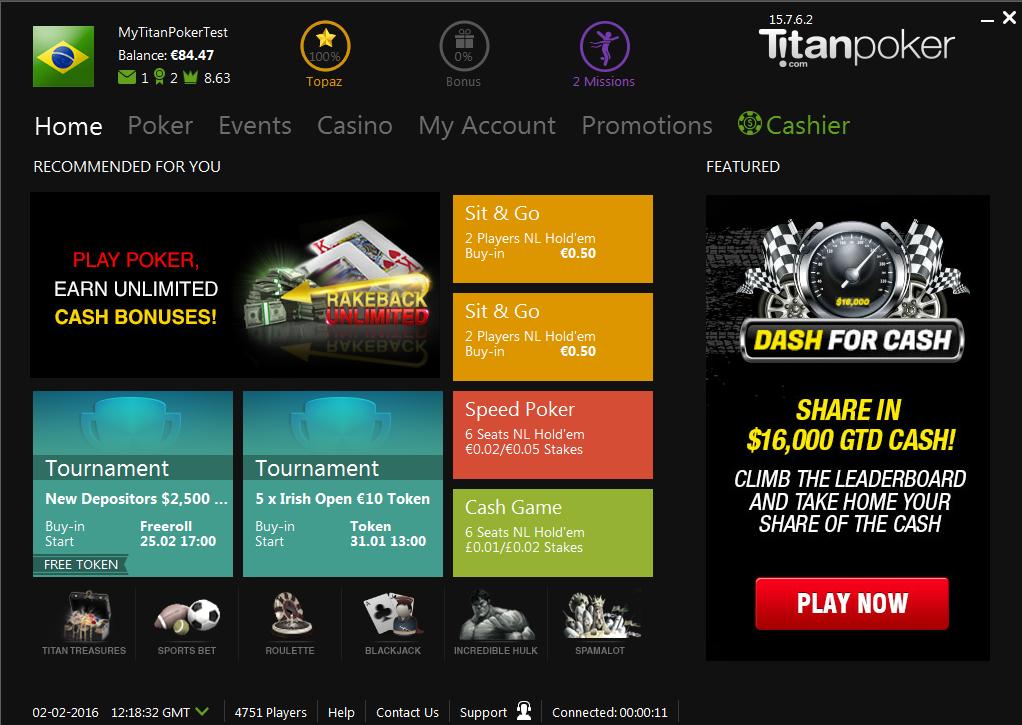 Lobby do Titan Poker