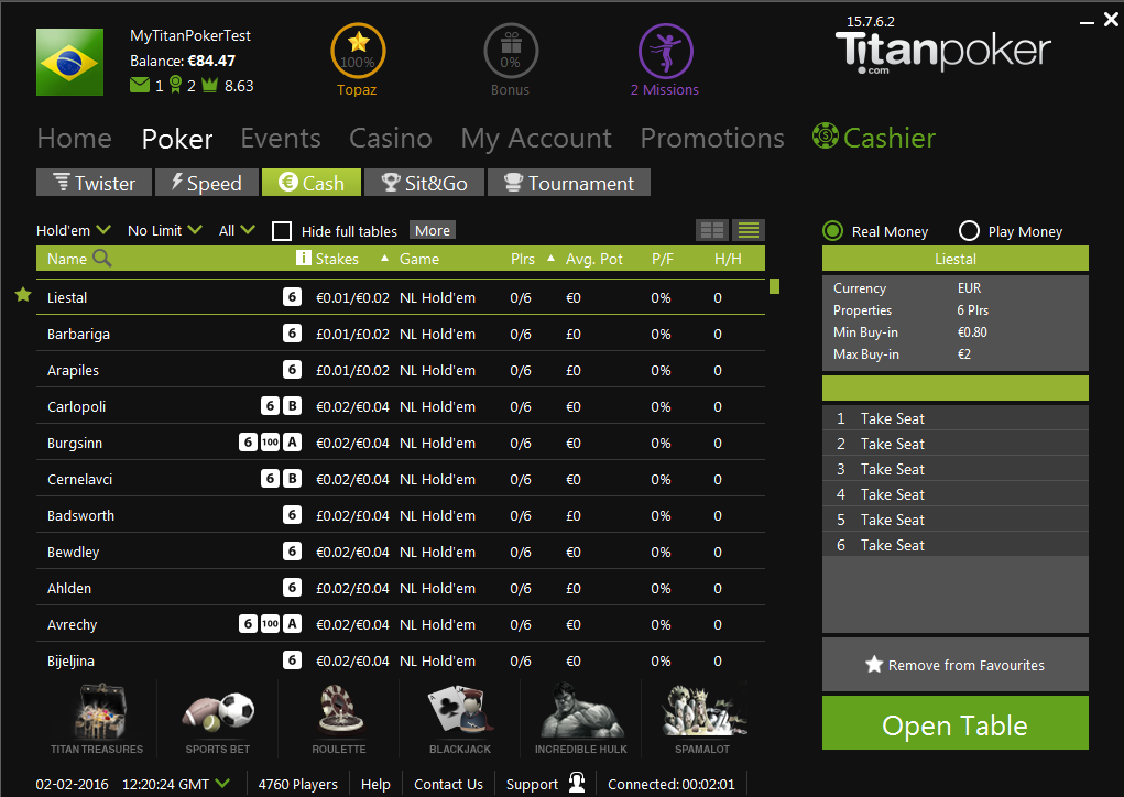 Titan Poker list view