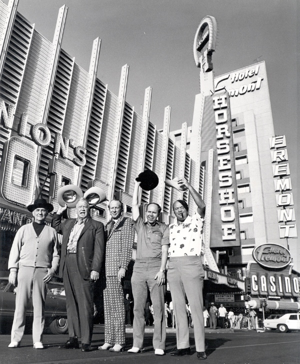 Photo credit: University of Nevada, CC BY 3.0 Unported, Wikipedia.org / Outside of Binion's Horseshoe in 1974. Left to right: Johnny Moss, Chill Wills, Amarillo Slim, Jack Binion, and Puggy Pearson