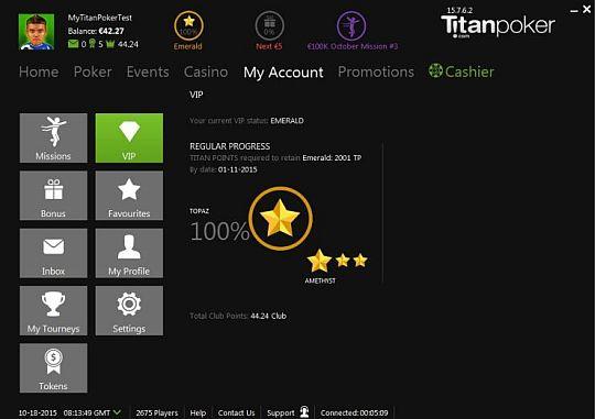 Zona VIP de Titan Poker