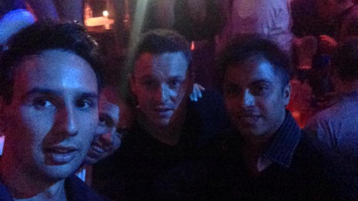 Alen Bilic parties with former Team Titan star Sam Trickett.