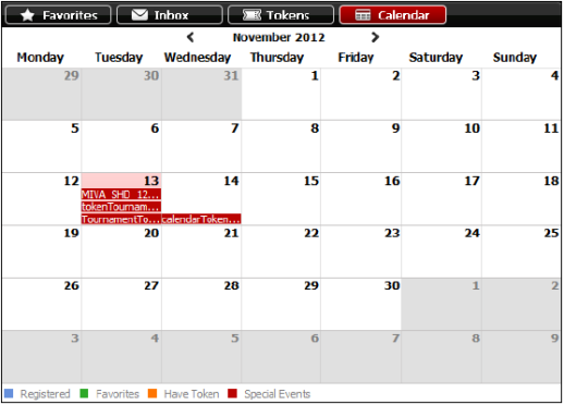 Separador Calendário no software do Titan Poker