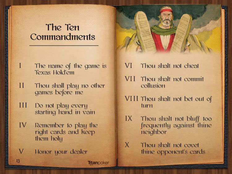 titan poker bible the poker commandments