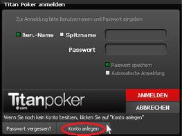 Titan Poker Konto erstellen